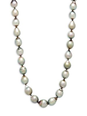 """Belpearl 9-12MM Cultured Black Drop Pearl & 14K White Gold Necklace/18"""""""