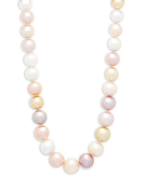 Belpearl 11-14MM MULTICOLOUR SEMI-ROUND CULTURED PEARLS & 14K YELLOW GOLD NECKLACE