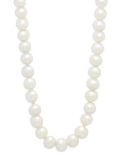 Belpearl 9-12MM WHITE DROP SOUTH SEA PEARL & 14K WHITE GOLD NECKLACE