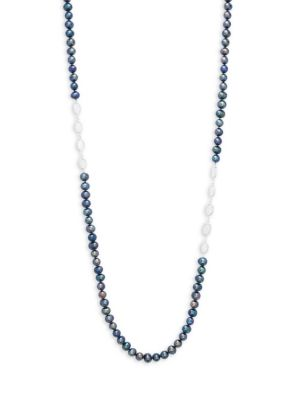 Belpearl 8-9MM Dyed Black Drop Freshwater Pearl, Moonstone & Sterling Silver Necklace
