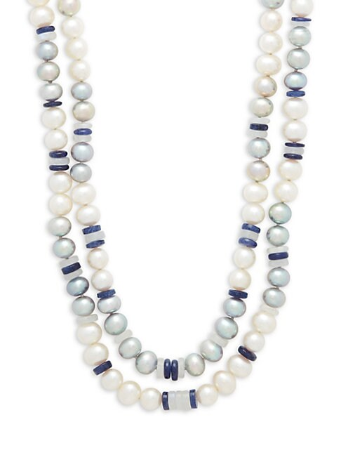 Belpearl 7-8MM WHITE & GREY SEMI-ROUND FRESHWATER PEARL, SAPPHIRE AND 14K WHITE GOLD DOUBLE ROW NECKLACE
