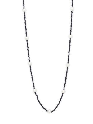 Belpearl 10-11MM White Semi-Round Freshwater Pearl, Black Spinel & 14K White Gold Necklace
