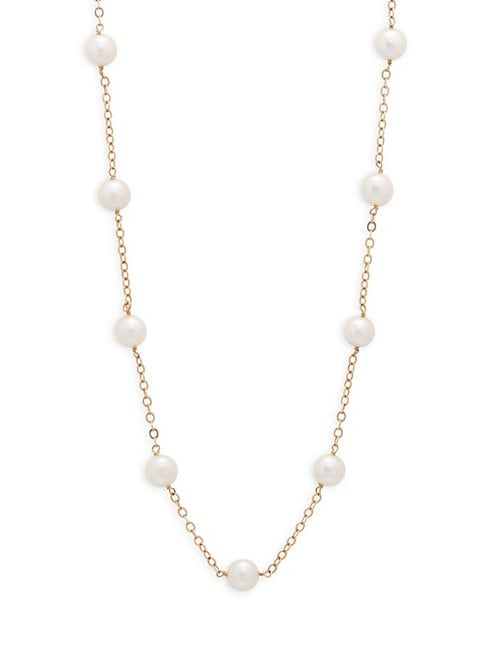 Belpearl 5.5-6MM WHITE ROUND AKOYA CULTURED PEARL AND 14K YELLOW GOLD STATION NECKLACE