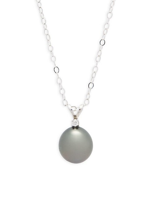 Belpearl 8.5-9MM BLACK OFF-ROUND TAHITIAN CULTURED PEARL, DIAMOND AND 14K WHITE GOLD PENDANT NECKLACE