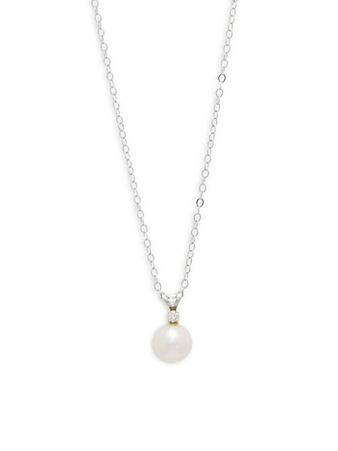 Belpearl 7.5-8MM ROUND AKOYA PEARL, DIAMOND & 14K GOLD NECKLACE