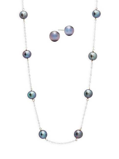 Belpearl TWO-PIECE 6-7MM BLACK CULTURED FRESHWATER PEARL AND 14K WHITE GOLD NECKLACE AND EARRINGS SET
