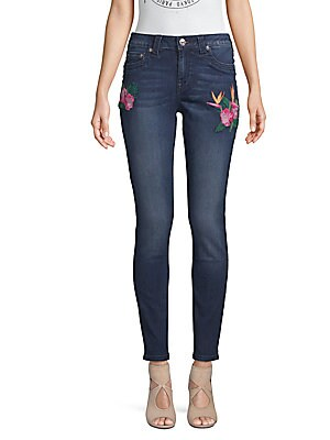 Curvy-Fit Floral Embroidered Jeans, Medium Blue