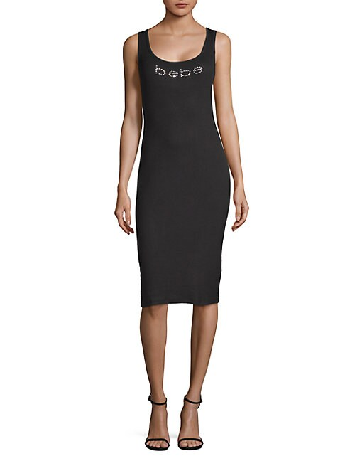 BEBE | Logo Sleeveless Sheath Dress | Goxip