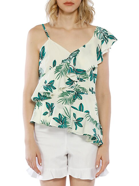 WALTER BAKER | Ruffle Palm Printed One-Shoulder Top | Goxip