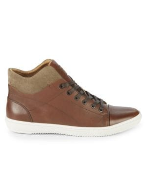 KENNETH COLE Lace-Up Leather High-Top Sneakers in Brown