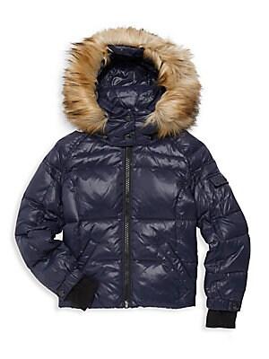 b550f7a52b98 MICHAEL Michael Kors - Girl s Faux-Fur Trim A-line Puffer Coat ...