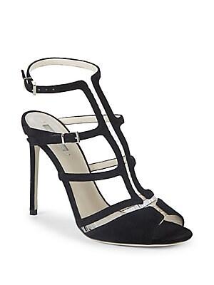 Giorgio Armani Leather Caged Sandals