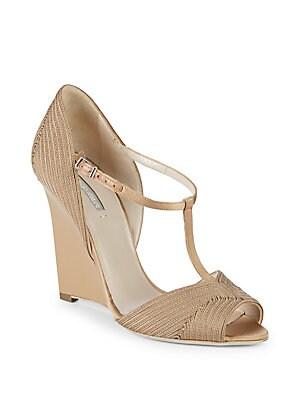 Giorgio Armani T-Strap Wedge Sandals