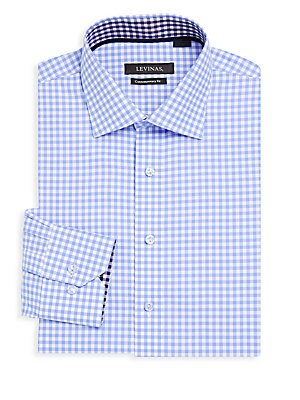 Contemporary-Fit Gingham Cotton Dress Shirt