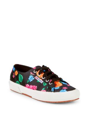 SUPERGA Floral Low-Top Sneakers in Black Multi