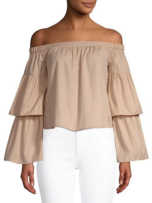 Layered-Sleeve Cotton Blouse