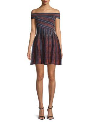 Ronny Kobo Sadie Striped Off-The-Shoulder Mini Dress