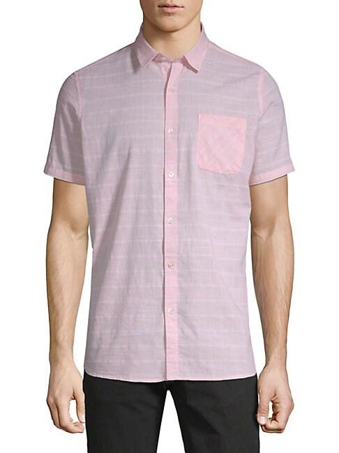 CIVIL SOCIETY Plaid Cotton Button-Down Shirt in Peach