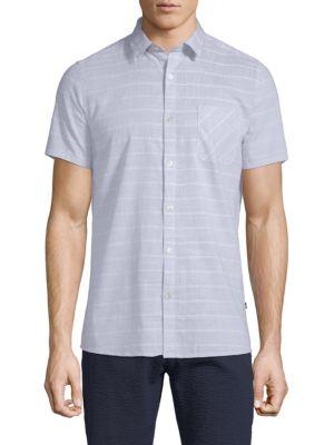 CIVIL SOCIETY Plaid Cotton Button-Down Shirt in Light Blue