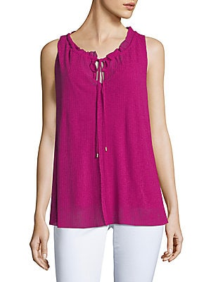 ELLEN TRACY Shirred Neck Sleeveless Top, Orchid