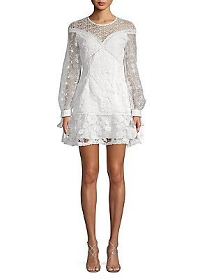 Floral Lace Long-Sleeve Dress