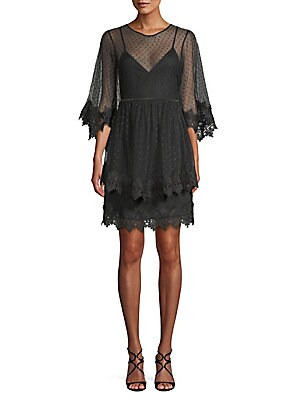 ALLISON NEW YORK Tiered Lace-Trimmed Dress in Black