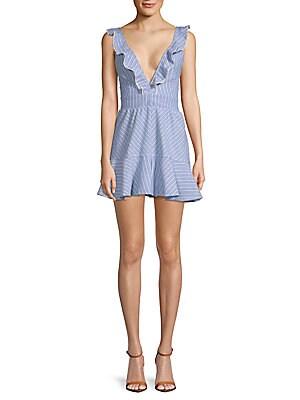 ALLISON NEW YORK Deep V-Neck Cotton Mini Dress in Light Blue