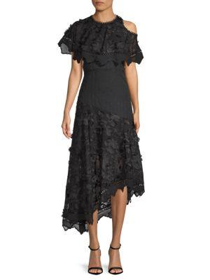 Allison New York Embroidered Asymmetrical Midi Dress