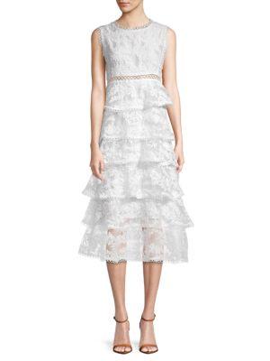 Allison New York Embroidered Tiered Midi Dress