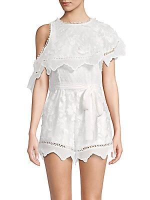 ALLISON NEW YORK 3D Embroidered Floral Romper in White