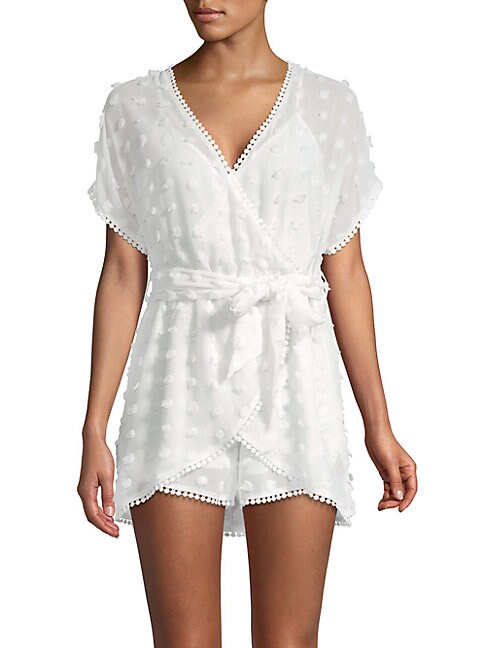 ALLISON NEW YORK   Embroidered Wrap-Front Romper   Goxip