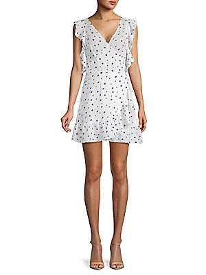 ALLISON NEW YORK Polka Dot Ruffled Dress in White