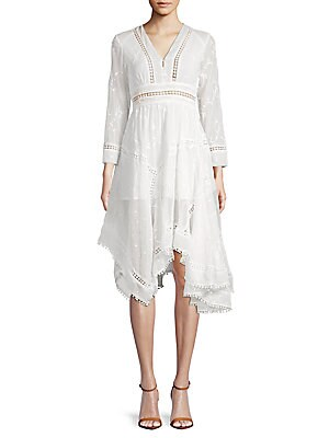 ALLISON NEW YORK Embroidered Asymmetrical Knee-Length Dress in Ivory