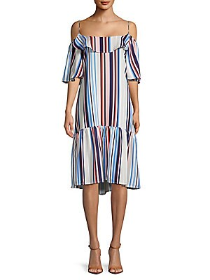 Few Moda  Striped Cold-Shoulder Dress