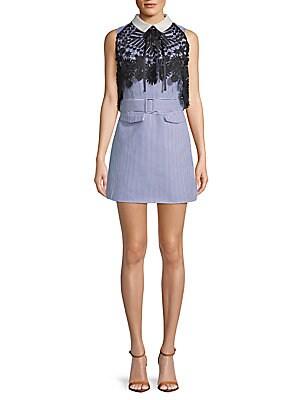 FEW MODA Lace Contrast Cotton Mini Dress in Multi
