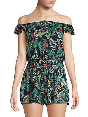 LUCCA COUTURE Printed Ruffled Romper in Luau Navy