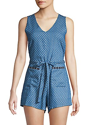 LUCCA COUTURE Amber Striped Sleeveless Romper in Navy Stripe