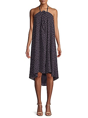 LUCCA COUTURE Lila Dotted Halter Dress in Navy Multi