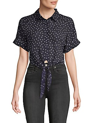 LUCCA COUTURE Vera Polka Dot Cotton Button-Down Shirt in Navy