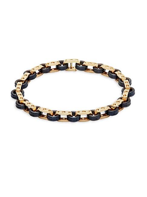 ROBERTO COIN | 18K Yellow Gold & Titanium Bangle Bracelet | Goxip