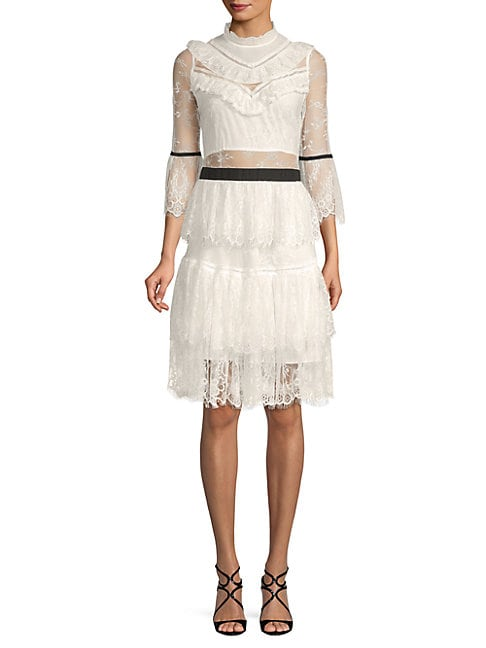 FEW MODA Tiered Lace Tulle Dress in White
