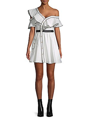 FEW MODA Ruffled One-Shoulder Dress in White