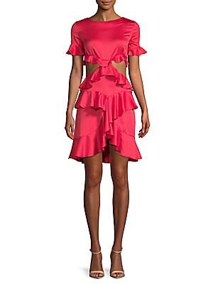 FEW MODA Open-Back Ruffle Dress in Red