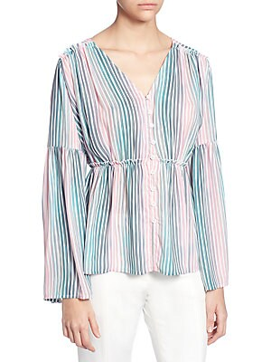 Striped Bell-Sleeve Button-Down Blouse