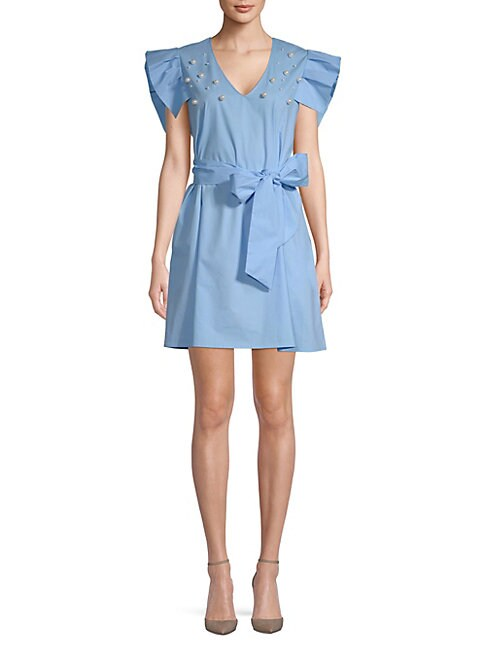 Alexia Admor FAUX PEARL-EMBELLISHED COTTON DRESS