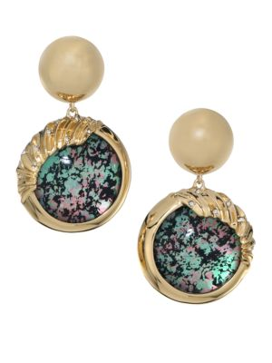 Alexis Bittar Lucite Swarpvslo Crystal & 10K Yellow Gold Sculptural Sphere Dangling Drop Earrings
