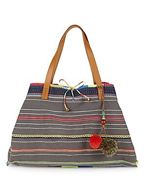 STAR MELA Chindi Embroidered Tote in Multi