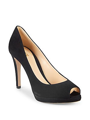Suede Peep-Toe Stiletto Heels
