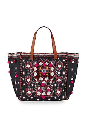 STAR MELA Manali Tote Bag in Black Multi