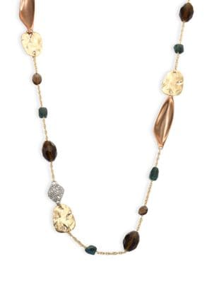 Alexis Bittar Elements Beaded Smoky Quartz, Green Labradorite & Crystal Necklace
